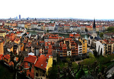 View of Lyon, France. The panoramic aerial view at Lyon from Basilique de Fourviere hill. Lyon. France Stock Images