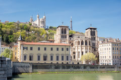 View of Lyon, France. Basilica of Notre Dame de Fourviere in the historical center Stock Photo