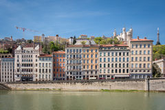 View of Lyon, France. Basilica of Notre Dame de Fourviere in the historical center Royalty Free Stock Photography