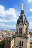 View of Lyon with Golden Statue of Virgin Mary Royalty Free Stock Photo