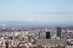 View of Lyon with Mont Blanc mountain in background Royalty Free Stock Photos