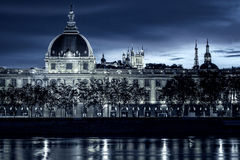 View of Lyon by night Stock Photo
