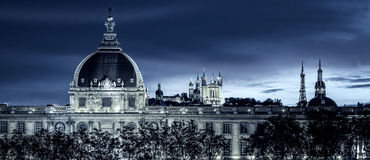 View of Lyon by night. With special photographic processing Royalty Free Stock Photo