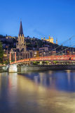 View of Lyon and red footbridge Stock Image