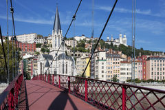 View of Lyon with red footbridge Royalty Free Stock Photo
