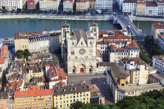 View of Lyon with Saint Jean cathedral Royalty Free Stock Photos