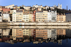 View of Lyon and Saone River Stock Photo