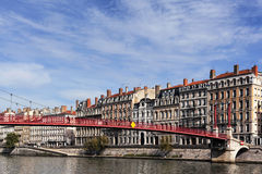 View of Lyon with Saone river Royalty Free Stock Images