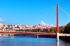 View of Lyon with Saone river and famous red footbridge Stock Image