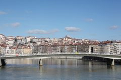 View of lyon with Saone river Royalty Free Stock Photos