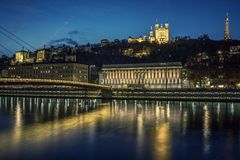 View of Lyon and Saone river at night. France Royalty Free Stock Photography