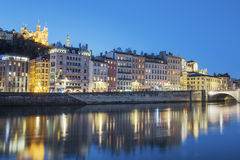 View of Lyon with Saone river at night Stock Photos