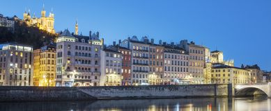 View of Lyon with Saone river at night. France Royalty Free Stock Photos