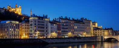 View of Lyon with Saone river at night Royalty Free Stock Photo