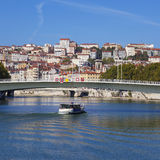 View on Lyon and Saone riverwith boat Stock Photography