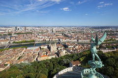 View of Lyon from the top of Notre Dame de Fourviere Royalty Free Stock Images