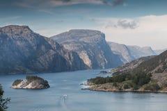 View into Lysefjord Stock Photo