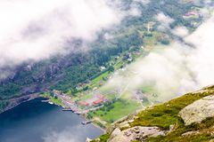 View of Lysefjord and Lysebotn from mountain Royalty Free Stock Photos