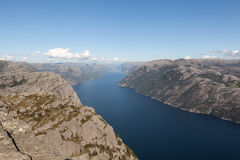 View of the Lysefjord from Preikestolen (pulpit Rock). Norway. Stock Image
