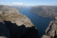 View of the Lysefjord from Preikestolen (pulpit Rock). Norway. Royalty Free Stock Photos