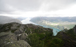 View of Lysefjord from The Pulpit Rock, Norway Stock Photos
