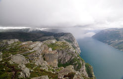 View of Lysefjord from The Pulpit Rock, Norway Stock Image