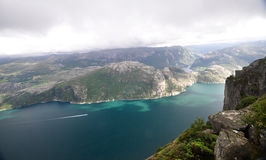 View of Lysefjord from The Pulpit Rock, Norway Royalty Free Stock Photos