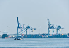 View on Maas river ports of Rotterdam Royalty Free Stock Images