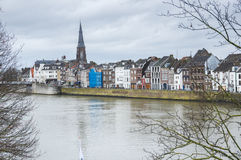 View of Maastricht city centre on the Meuse river Stock Photos