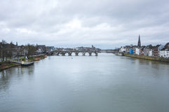 View of Maastricht city centre on the Meuse river Royalty Free Stock Photos