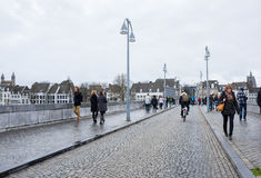 View of Maastricht city centre on the Meuse river Royalty Free Stock Images