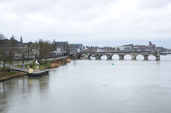 View of Maastricht city centre on the Meuse river Royalty Free Stock Photo
