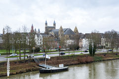 View of Maastricht city centre on the Meuse river Royalty Free Stock Photography
