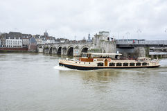View of Maastricht city centre on the Meuse river Stock Photography