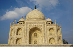 View of the mable palace at Taj Mahal in Agra, India.  Royalty Free Stock Images