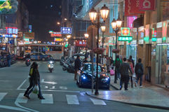 View of Macao streets by night Royalty Free Stock Photos