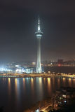 View with Macao Tower at Night Stock Photos