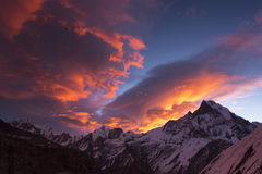 View of Machhapuchchhre mountain at sunset - Fish Tail in Englis Stock Photography