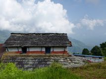 View of Machhapuchhre mountain from Dhampus village in Nepal Royalty Free Stock Photography