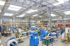 View of machinery in factory which manufactures aluminium light fittings Stock Photo