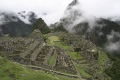 View of Machu and Huana Pichu. Tièical sight of machu pichu in per Royalty Free Stock Photo