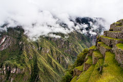 View of the Machu Picchu. A popular tourist attraction and one of the ancient wonders of the world Royalty Free Stock Photography
