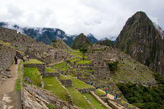 View of the Machu Picchu. A popular tourist attraction and one of the ancient wonders of the world Stock Photo