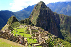 View of Machu Picchu, Peru with Wayna Picchu Royalty Free Stock Image