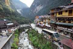 View of Machupicchu or Aguas Calientes Stock Photography