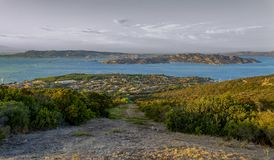 View of the Maddalena Archipelago from Palau Olbia, Sardinia, I. Panorama from the hill of Palau Olbia, Sardinia, Italy of part of the Maddalena Archipelago, an royalty free stock image