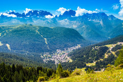 View of Madonna di Campiglio, a town in Trentino , Italy. Aerial view of Madonna di Campiglio, a town in the Alps of Trentino , Italy stock photography