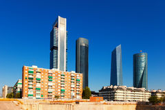 View of Madrid with Cuatro Torres Business Area Royalty Free Stock Photography