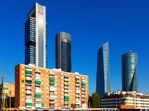 View of Madrid with  Four Towers Business Area Stock Images