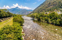 View of Maggia river, beginning of famous Maggia valley in canton Ticino of Switzerland Royalty Free Stock Photos
